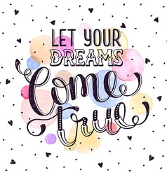 Dreams lettering for cards vector image