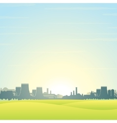 Eco Friendly Nuclear Plant Landscape vector image