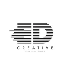 Ed e d zebra letter logo design with black and vector
