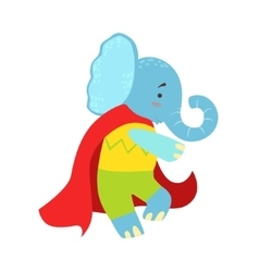 Elephant Animal Dressed As Superhero With A Cape vector