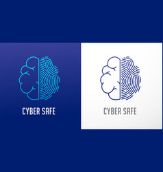 Fingerprint scan logo privacy human brain icon vector