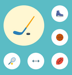 Flat icons puck ice boot basket and other vector