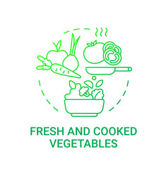 Fresh and cooked vegetables concept icon vector
