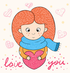 funny cute girl characters love cartoon vector image