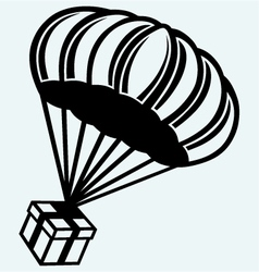 Gift box parachute falling from the sky vector