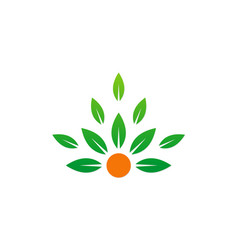 Green leaf organic beauty logo vector