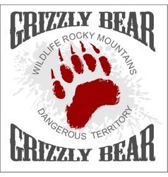 Grizzly bear footprint emblem - vector