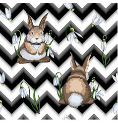 hand drawn easter seamless pattern with hares or vector image