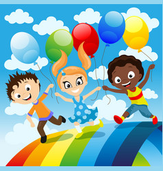 happy children with balloons vector image