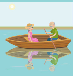 Happy grandparents ride on the boat vector