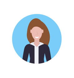 Happy woman brown hair girl face avatar female vector