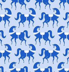 Horse gzhel painted seamless pattern russian vector
