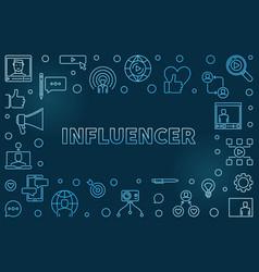 influencer concept blue outline vector image