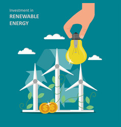 Investment in renewable energy flat vector