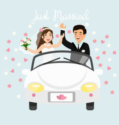 Just married couple driving vector