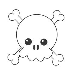 kawaii skull and bones icon vector image