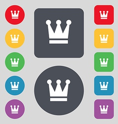 King Crown icon sign A set of 12 colored buttons vector image