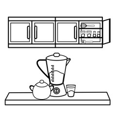 Kitchen cute cartoons utensils in black and white vector
