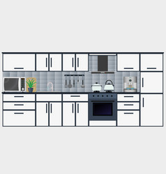 kitchen interior with furniture including vector image