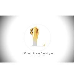 L golden letter design brush paint stroke gold vector