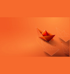 Leadership concept with orange paper ship leading vector