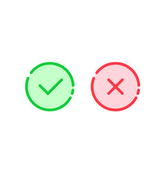 Linear check mark icon like tick and cross vector