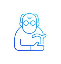 Male pensioner gradient linear icon vector