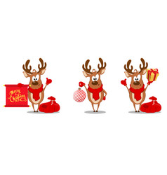 Merry christmas greeting card with funny reindeer vector