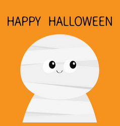 Mummy monster happy halloween cute cartoon funny vector