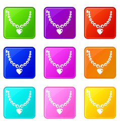 Necklace icons 9 set vector