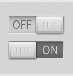 On and off toggle switch slider buttons rectangle vector