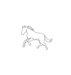 one continuous line drawing strong cute horse vector image