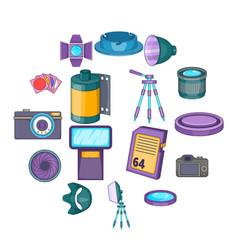 photo studio icons set cartoon style vector image