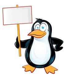 pinguin character cartoon with signboard vector image