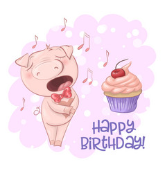 postcard cute singing pig with a cupcake and notes vector image