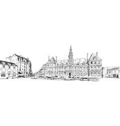 Reims france historic architecture hand drawn vector