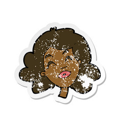 retro distressed sticker a cartoon happy vector image