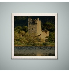 Retro photo frame with castle vector
