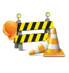 Road Barrier With Hard Hat And Traffic Cone vector