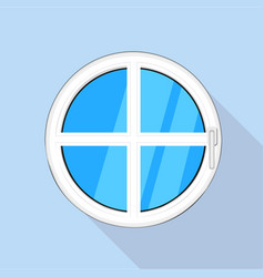 Round plastic window icon flat style vector