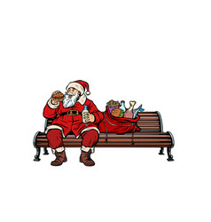santa claus hungry eating on a park bench vector image