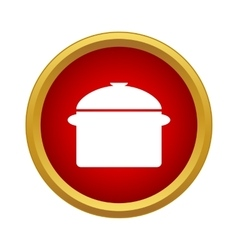 Saucepan with lid icon in simple style vector