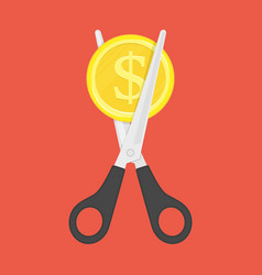 scissors cutting money vector image