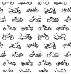 seamless pattern with motorcycles of various types vector image