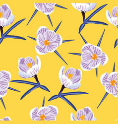 Seamless pattern with spring purple crocus vector