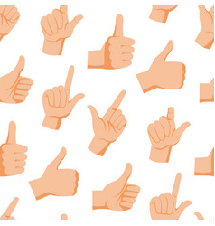 Seamless pattern with various hands gestures dumb vector