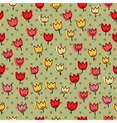 Seamless pettern with many of tulips on a backgrou vector