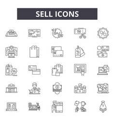 Sell line icons signs set linear concept vector