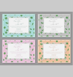 set four beautiful invitation with a vector image