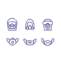 Set individual protection mask icons vector